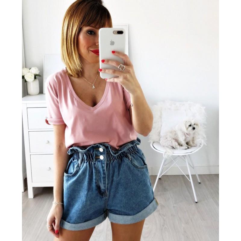 Camiseta pico rosa